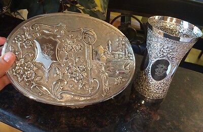 Vintage Solid Silver Hand Made Cup & Box Set  ( Be).