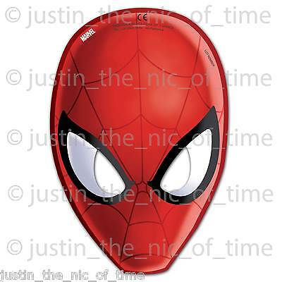 ULTIMATE SPIDERMAN Boys Birthday Party Paper Card Face MASKS x6