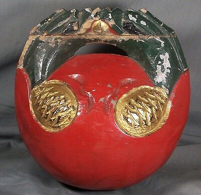 2 Chinese/Japanese Red Gold/Maki-e Lacquer Mokugyo Buddhist Temple/Ritual Drum