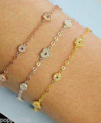 Gold Plated Sterling Silver HEART Chain Bracelet w/ Cubic Zirconia CZ Adjustable