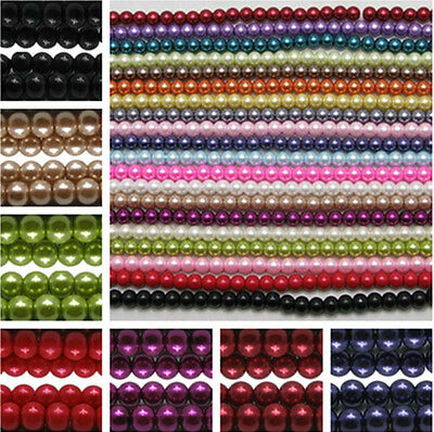 75pcs Glass Faux Pearl Loose F Craft Beads Jewellery Bracelet Necklace DIY Craft