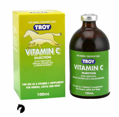 Troy Vitamin C natural supplement racing sport stable kennel horses dogs 100ml