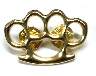 "(#451) BRASS KNUCKLES Brass-plated Zinc Vest / Hat Pin 1.5"" x 1"" Biker Vest Hat"