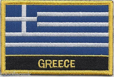 Greece Flag Embroidered Patch Badge - Sew or Iron on