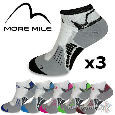 More Mile Mens Womens Ladies San Diego Ankle Running Sports Cushioned Socks 3
