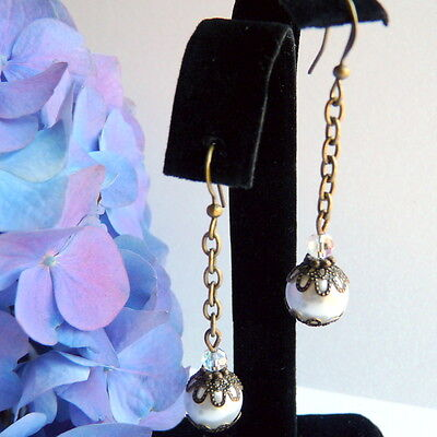 Victorian Art Nouveau Vintage Style Bronze White Pearl Crystal Chain Earrings