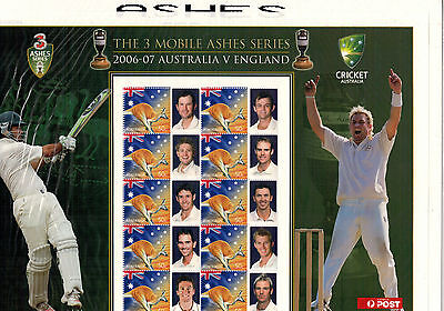 2006-07 Ashes - Aust vs England -The 3 Mobile Series - Stamp Sheetlet MUH