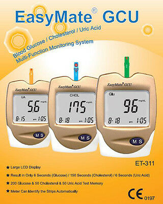 Gout Test Monitor - Also for Cholesterol & Glucose  - Full kit, incl. strips,