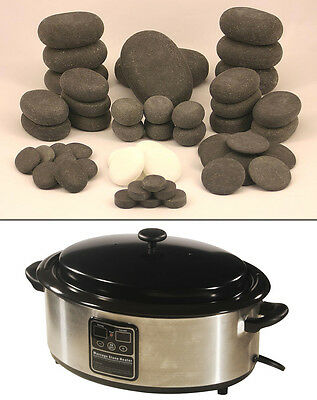 MassageMaster HOT STONE MASSAGE KIT 50 Basalt/Marble Stones + 6.5 Qt Digital Htr