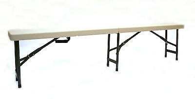 1.8 Meter Plastic folding benches with metal legs, fold in half for storage