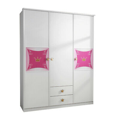 babyzimmer kleiderschrank schrank kinder weiss rosa m dchen s er schmetterling eur 665 00. Black Bedroom Furniture Sets. Home Design Ideas
