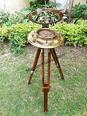 Big Brass Folding Sundial Compass with wooden Stand..