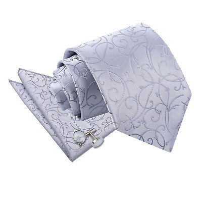 New Dqt Swirl Silver Men's Wedding Tie + Accessories