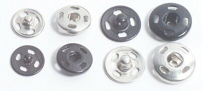SEW-ON SNAPS ALL METAL, CHOOSE COLOR, SIZE & QUANTITIES, RUST FREE & EASY TO USE