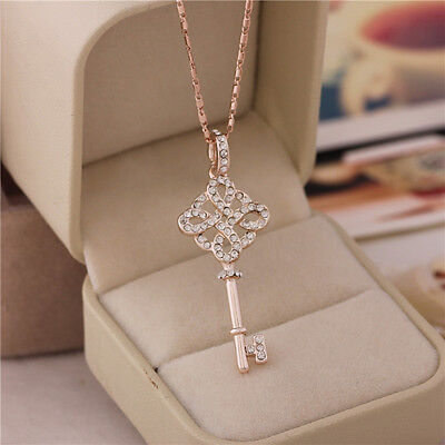 Free Shipping ! Womens 9K Rose Gold Filled AAA CZ Necklace with Pendant Y-J30