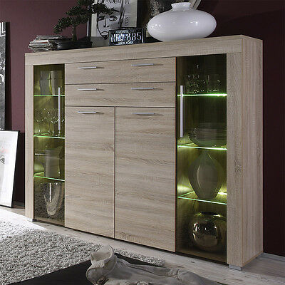 highboard eiche s gerau led vitrine anrichte wohnzimmer. Black Bedroom Furniture Sets. Home Design Ideas