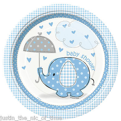 "BLUE UMBRELLAPHANTS Baby Shower Boy Party Tableware Plate 9"" Paper PLATES x8"