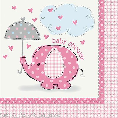 PINK UMBRELLAPHANTS Baby Shower Girl Party Tableware Supplies Paper Napkins X16