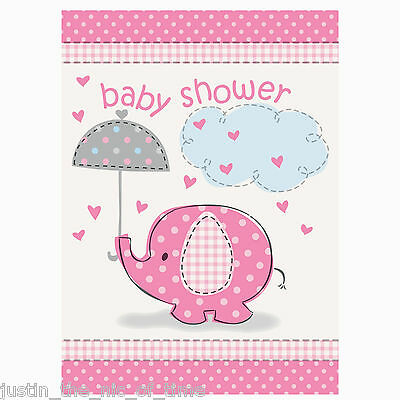 PINK UMBRELLAPHANTS Baby Shower Girl Party Invite INVITATIONS & ENVELOPES x8