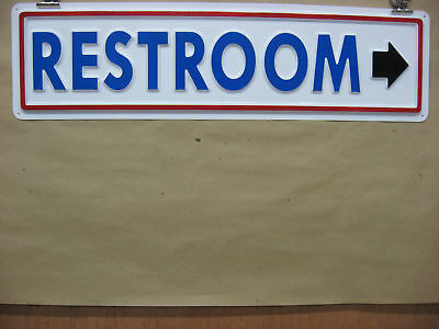 RESTROOM  Arrow Right Service Sign 3D Embossed Plastic 5x21, High Visibility