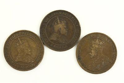 Vintage Coins Currency Lot 3 Large CANADA Pennies 1906 1909 1917 King George V