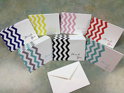 Verticle Chevron Thank You Cards Cute Baby Shower Wedding Boy Girl
