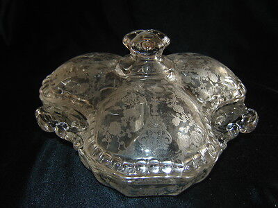 """CAMBRIDGE DEPRESSION GLASS ROSE POINT 3 THREE PART CANDY DISH WITH COVER 8"""""""