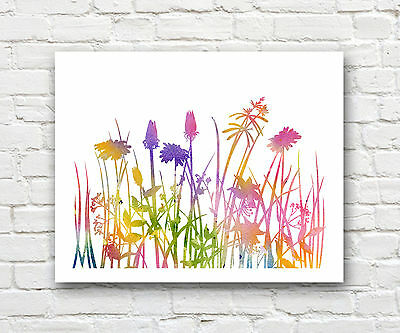 Wildflowers Abstract Watercolor Painting Art Print by Artist DJ Rogers