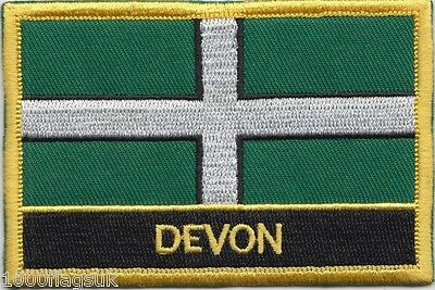 Devon County Flag Embroidered Patch Badge - Sew or Iron on * Devon Seller *