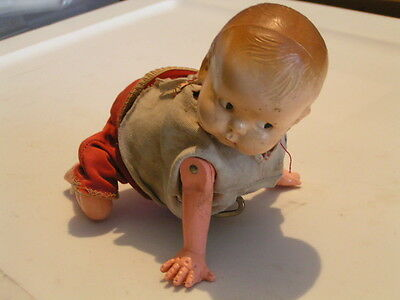 WIND-UP CRAWLING BABY DOLL TOY 1930's ? FREE SHIPPING