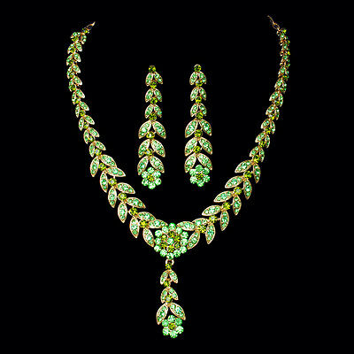 nice Wedding Jewelry Bridal Wedding Party green Necklace Earrings Set hot nice