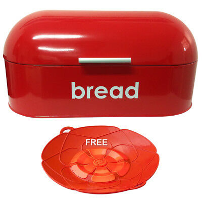 American Style Curved Steel Roll Top Bread Bin Kitchen Food Storage Red New