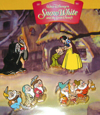 NEW✿Disney 4 Pin Set Booster Lot✿Snow White and the Seven 7 Dwarfs Old Hag Dopey