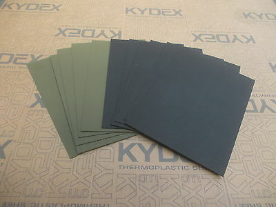 11 Pack KYDEX T SHEET 297 X 210 X 2MM A4 6 X BLACK 5 X OLIVE DRAB HAIRCELL