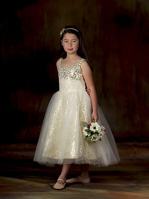 Flower Girl Formal  Party Bridesmaid Wedding Dress Gold Sequin Tulle Size 6