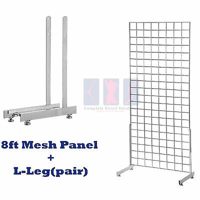 NEW 8ft HEAVY DUTY GRID WALL/GRIDWALL MESH CHROME DISPLAY PANEL WITH L-LEG pair