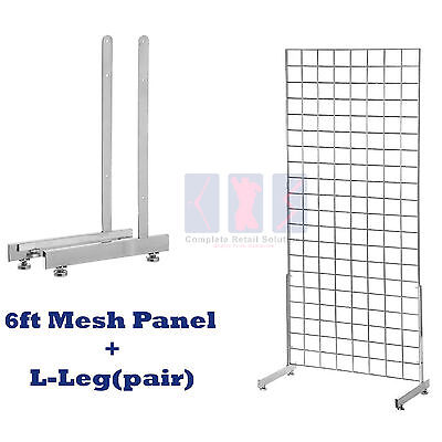 NEW 6ft HEAVY DUTY GRID WALL/GRIDWALL MESH CHROME DISPLAY PANEL WITH L-LEG pair