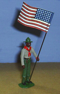 TOY SOLDIERS METAL NORTH AMERICAN NEGRO BOY SCOUT  FLAG BEARER54MM