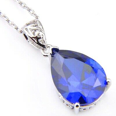Charming Jewelry for Women Sky Blue Topaz Gems Vintage Silver Pendants 1 ''