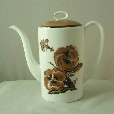 Wedgwood Bone China Susie Cooper REVERIE C2055 Coffee Pot Brown Pansy