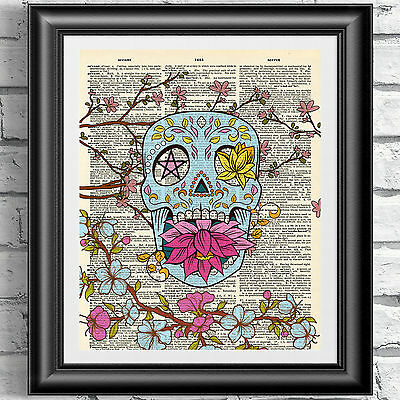 Art print on dictionary book page Sugar skull and blossom. Gothic tattoo decor
