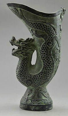Asia Collectible Decorated Old Handwork Bronze Carved Dragon Vase