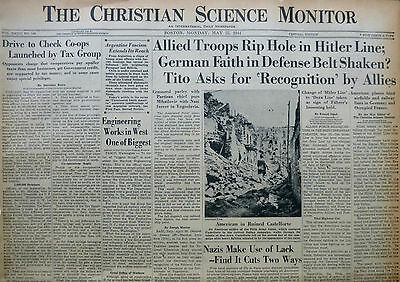 5-1944 WWII May 22 ALLIES HITLER LINE - TITO CASTELFORE ARGENTINA PA CS Monitor