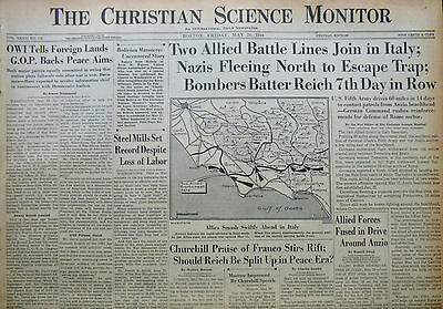 5-1944 WWII May 26 CHURCHILL FRANCO - BOMBERS BATTER REICH - ITALY CS Monitor