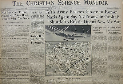 6-1944 WWII June 3 PRE - D-DAY INVASION - FIFTH ARMY CLOSER TO ROME - CS MONITOR
