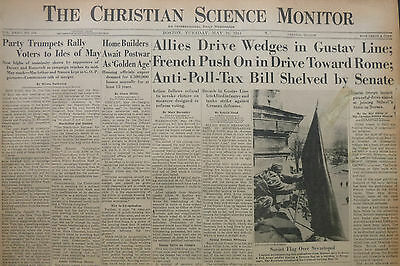 5-1944 WWII May 16 FRANCE ROME  GUSTAVE LINE - PHILIPPINES POLL-TAX  CS Monitor