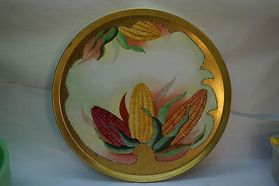 ANTIQUE LIMOGES PORCELAIN CHARGER WALL PLAQUE HAND PAINTED CORN GOLD D&C FRANCE