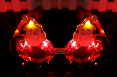 1pc Light Up Santa Claus Led Light Glassed Father Christmas Glasses Prop Xmas