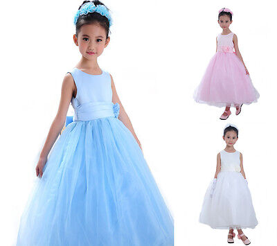 Girls Flower Formal Wedding Bridesmaid Party Christening Occasion Prom Dress UK
