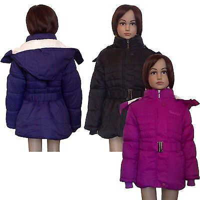 New Girls WARM Winter Jacket Padded Belted Coat Puffa Detachable Hood 3-12y #42